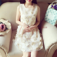 Temperament High Waist Cherry Printed Sleeveless Mini Dress