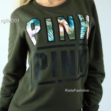 """Pink"" Victoria's Secret Letter Print Long Sleeve Pullover Top Sweater"