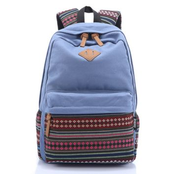 Blue Stylish Ethnic Rucksack Canvas College Backpack Travel Bag Daypack
