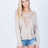 Perforated Knit Sweater Top