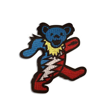 GRATEFUL DEAD PATCH - Dancing Bear, Iron On, Handmade, Vintage, Embroidered, Patches, Jerry Garcia, Rare, The Dead, Gift Idea