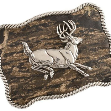 Nocona Mossy Oak Rectangular Jumping Buck Camo Belt Buckle