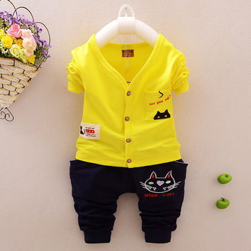 Cat Baby Girl Boy Clothing Suit Casual Clothes Set Shirt+pants