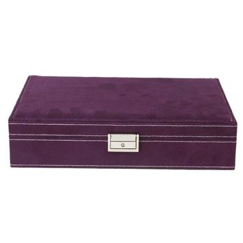 Lockable Wooden Capacity Large Velvet Jewelry Earrings Storage Case Display Box
