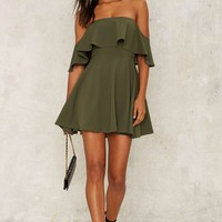 Off the Deep End Mini Dress - Olive