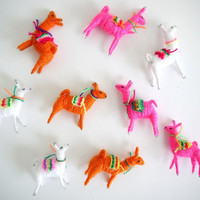 Llama Miniatures, Charms, Peruvian Latin American, Jewelry, Orange, White, Pink, Set of 3
