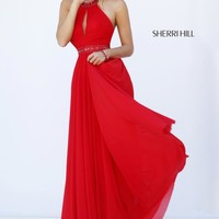 Open Back Beaded Sherri Hill Red Dress 50089