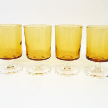 Luminarc Amber Cavalier Sherry/Sweet Wine Glasses x 4, Retro French Arococ,  Clear Plain Orange Glass, Sweet Wine Glass