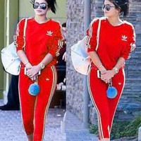 ADIDAS New Fashion Trending Women Men Lovers Two Piece Suit Sports Set Side Line Stripe Red