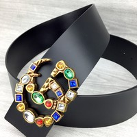 GUCCI tide brand simple female models with diamonds wild smooth buckle belt Black