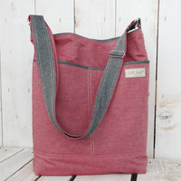 Red Tote bag canvas and linen crossbody shopping bag beach bag red and school bag diaper ba