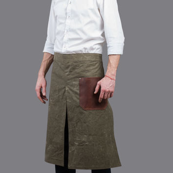Long half apron by Kruk Garage Cafe apron Canvas half apron with leather pocket and army belts Mens apron Work apron