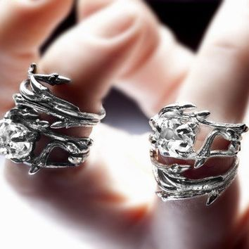 dark silver stacking pair Elvish rings twigs & natural by redsofa