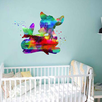 kcik2115 Full Color Wall decal Watercolor Bambi Character Disney Sticker Disney children's room Fawn