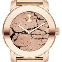 Women's Movado 'Bold' Crackle Dial Bracelet Watch, 36mm - Rose Gold