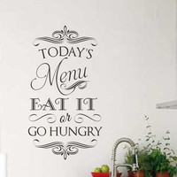 Vinyl Wall Quotes Today Menu Eat It Go Hungry Chalkboard Style Lettering Kitchen Decor Decal