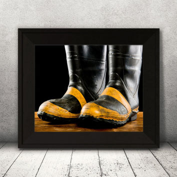 Vintage Firefighter Boots, Fire Fighter Wall Decor, Rubber Boots Print, Fire Station Print, Living Room Art, Fire Department Wall Art, Gift