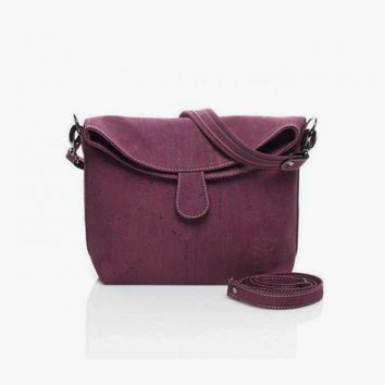 Magnetic Snap Cork Handbag in Violet
