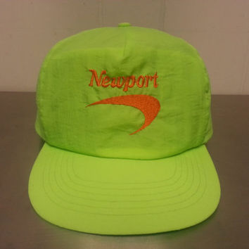 Vintage 90's Newport Cigarettes Neon Green Yellow Snapback Dad Hat Orange Embroidery Tobacconia Promotional Advertising
