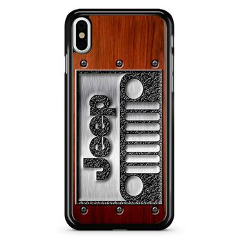 Embossed Steel Jeep Logo On Wood iPhone X Case