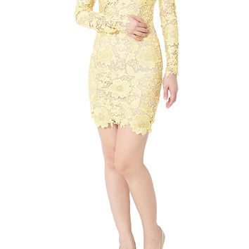 ARIANNE Embroidery Lace Long Sleeve Dress In Gold