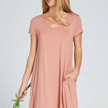 Lime N Chili Criss Cross Dress with Short Sleeves for Women in Salmon LD8008-SALMON