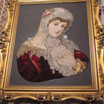 Exquisite Embroidered Victorian Portrait Edwardian Lady Silk On Glass Heavy Detailed High Relief Vintage Frame Shabby Cottage Decor