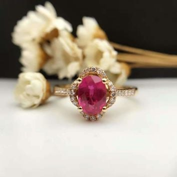 18K Gold 1.074ct Natural Ruby Women Ring with 0.163ct Diamond Setting 2016 New Fine Jewelry Wedding Band Engagement