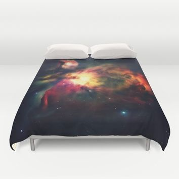 Orion NEbula Dark & Colorful Duvet Cover by 2sweet4words Designs