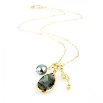 Tahitian Pearl and Labradorite Cluster Necklace