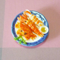 Sea animal magnets shrimp crab spicy seafood ceramic plate /mini food/ kitchen Food magnet/ refrigerator magnet