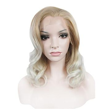 Middle Ash Brown Blonde To White Wave Synthetice Lace front Wig