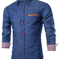 PU Leather Pocket Checked Print Long Sleeve Denim Shirt
