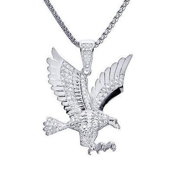 """Jewelry Kay style Men's Stoned Iced Silver Cross Pendant 24"""" Box Chain Necklace SET BSH 13585 S"""