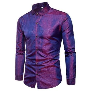 silk shirt mensatin smooth men solid tuxedo shirt business chemise homme casual slim fit shiny gold weddingDress shirts