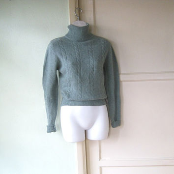 Wool-Angora Blend Sea Green Turtleneck - Medium Angora Turtleneck Sweater - '80s Vintage Upscale Turtleneck by Chez Maurice - Angora Jumper