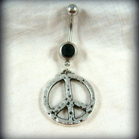 Belly Ring - Belly Button Jewelry - Peace Sign Belly Ring - Hippie Belly Ring - Black and Silver Belly Ring