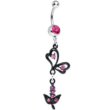 Pink Gem Dark Paradise Orchid Flower Dangle Belly Ring