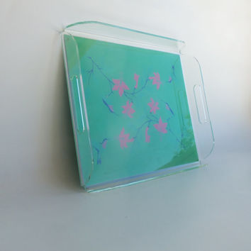 Lucite Tray Serving Storage Vintage Hummingbirds Mint Flowers Acrylic Vanity Office Accessory Desk Coffee Table Tray Mid Century Home Decor