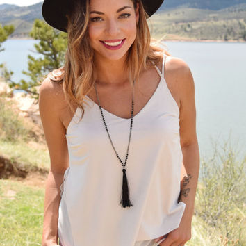 Highlands Faux Suede Tank Ivory