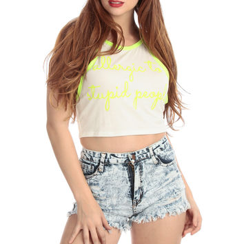 Neon Yellow Racer Back Crop Top