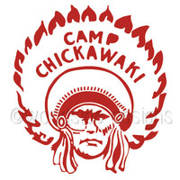 Red Summer Camp Patch Print, Southwestern, Camp Chickawaki, Moonrise Kingdom, Vintage Summer Camp Badge, Scout Badge, Native American Print,