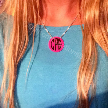 Custom Monogram Necklace - Any Color - Great Gift - SALE - Monogram Jewelry - Custom Name Necklace