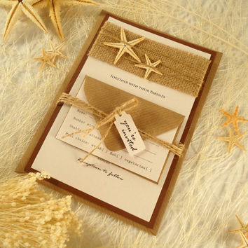 Starfish Wedding Invitation. Beach Wedding Invitation with Starfish. Rustic Wedding Invitation with Starfish