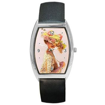 "Beautiful ""Victorian Lady with Big Hat"" on a Barrel Watch with Leather Band"