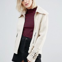 Pepe Jeans Ginna Exposed Faux Shearling Biker Jacket at asos.com