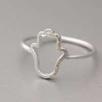 Brushed Protection Hamsa Hands Lucky Knuckle Ring