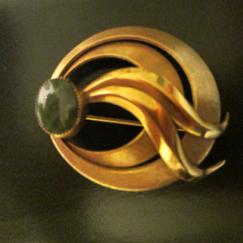Gold Filled Jade Cabochon Signed Brooch