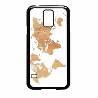 World Map On Wood Texture Print White Samsung Galaxy S5 Case