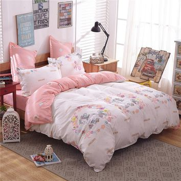 Unicorn Pattern Beige & Coral Duvet Cover Flat Sheet Pillowcases Set No Comforter Twin/Full/Queen/King Size